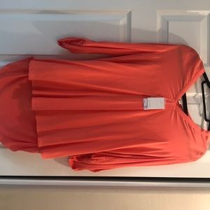 Coral Rose high/low, long sleeve blouse